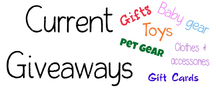 Current blog giveaways that are open. Gift cards, pet gear, childrens toys, baby gear, gifts, clothing & more.