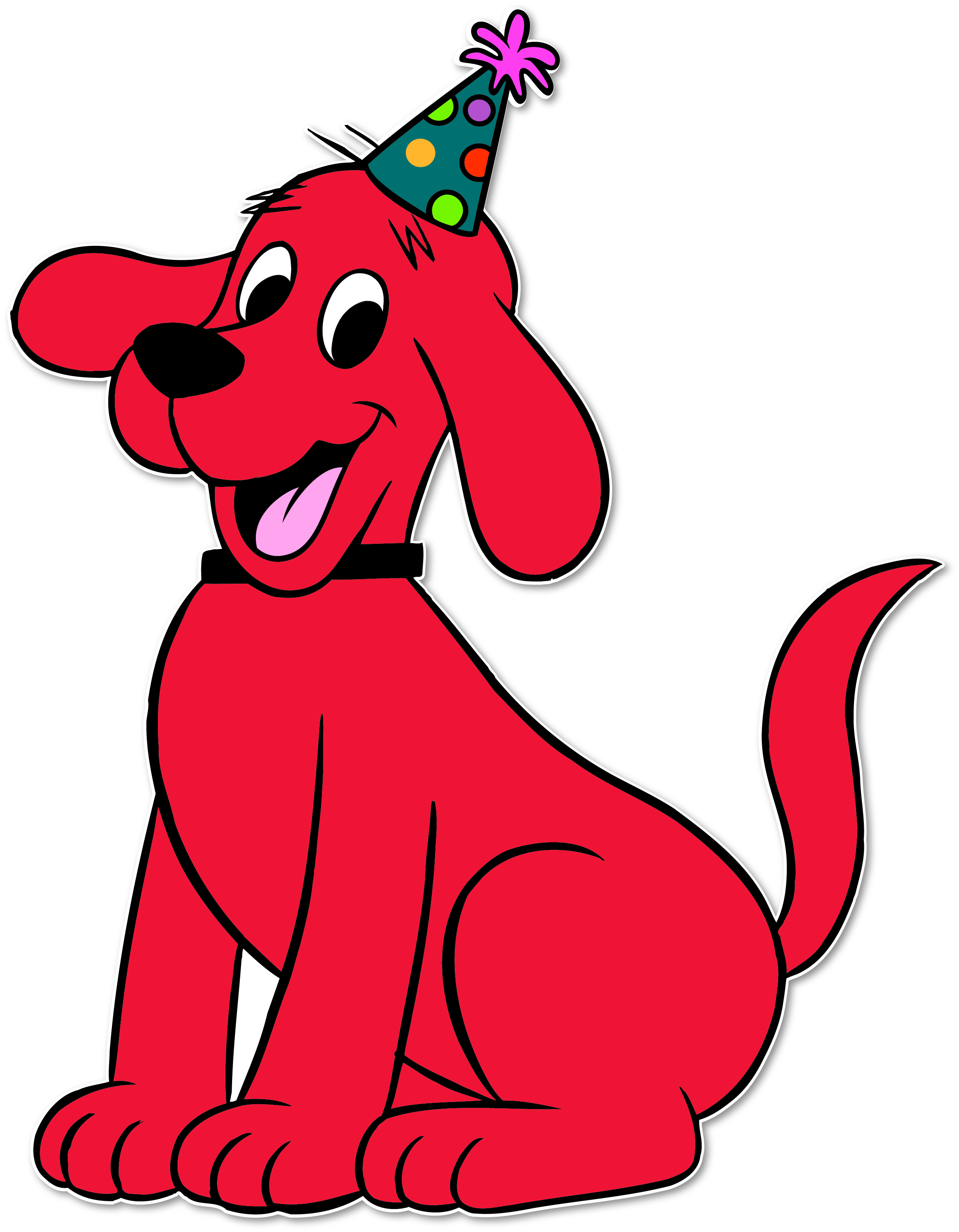 It is a graphic of Crafty Clifford the Big Red Dog Clipart