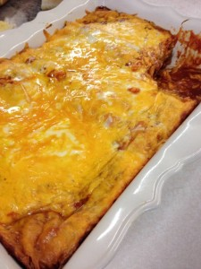cheesy beef enchiladas (or swap out with chicken!)