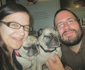 Two Pugs Family Picture