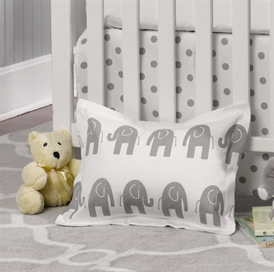 Liz And Roo Fine Baby Bedding Gray Elephant Baby Sham