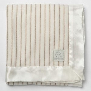 Antimicrobial fleece baby blanket with satin trim