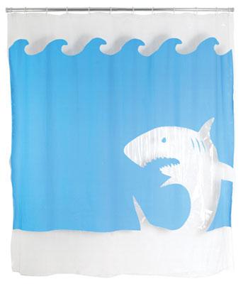 jaws shark shower curtain