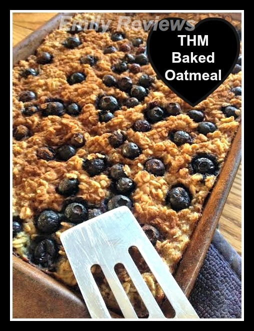 Trim Healthy Mama baked blueberry oatmeal breakfast recipe #thmapproved