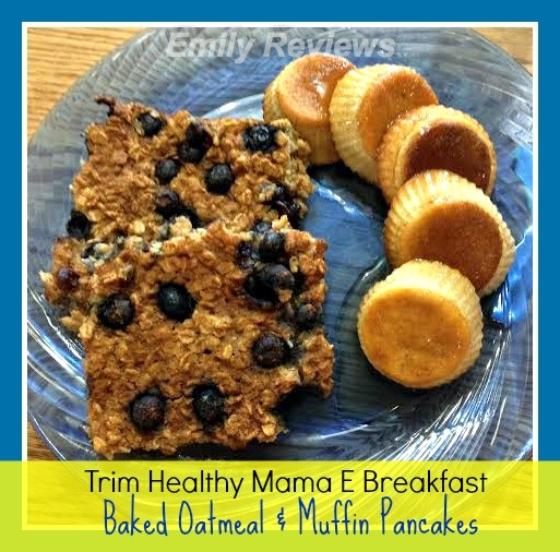 Trim Healthy Mama e style breakfast recipe includes baked blueberry oatmeal squares and pancake muffins THM #THMapproved