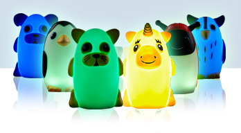 Bright Time Buddies - The nightlight you can take with you! Soft body for squeezable fun that has a rotating colorful light.