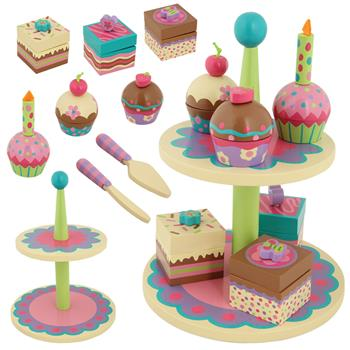 Stephen Joseph Sweet Treats Cupcake Stand with cakes, brownies, utensils. All wooden pieces!