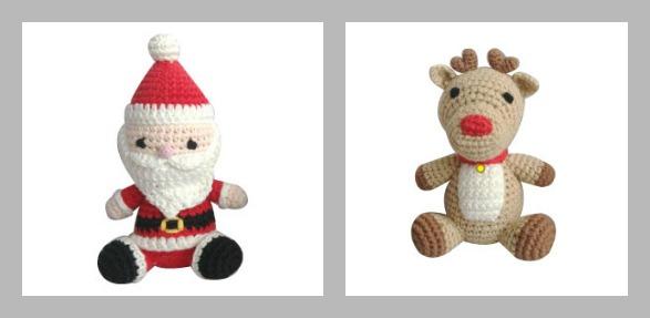 Zubels Dimples Santa & Reindeer Ornaments