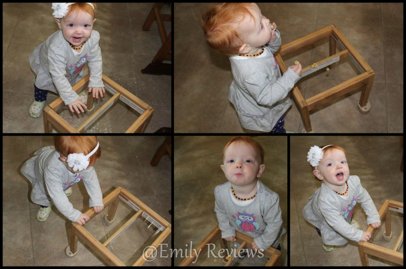 The Little Balance Box is a small table that is the perfect height for infants and toddlers.  It encourages babies to pull themselves up and then slides easily on carpet or hard floor and helps provide a stable place to hold on to and walk!