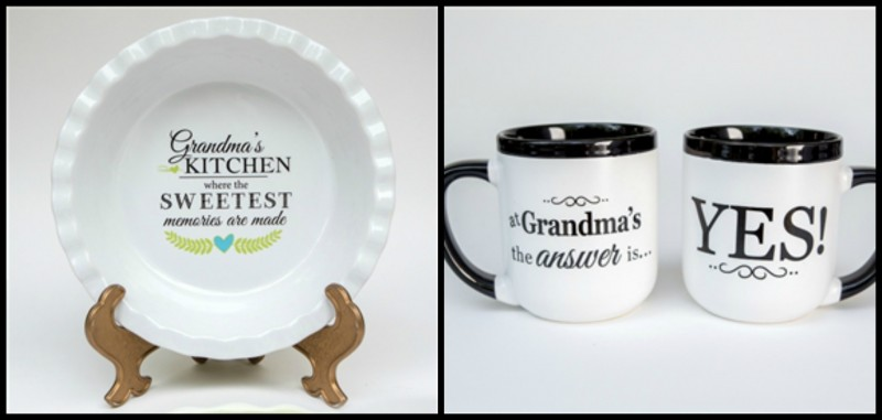 Grandparent Gift Company's Grandma's Pie Plate and Grandma Mugs are the perfect gifts for Grandmas, Nanas, and Mimis everywhere.