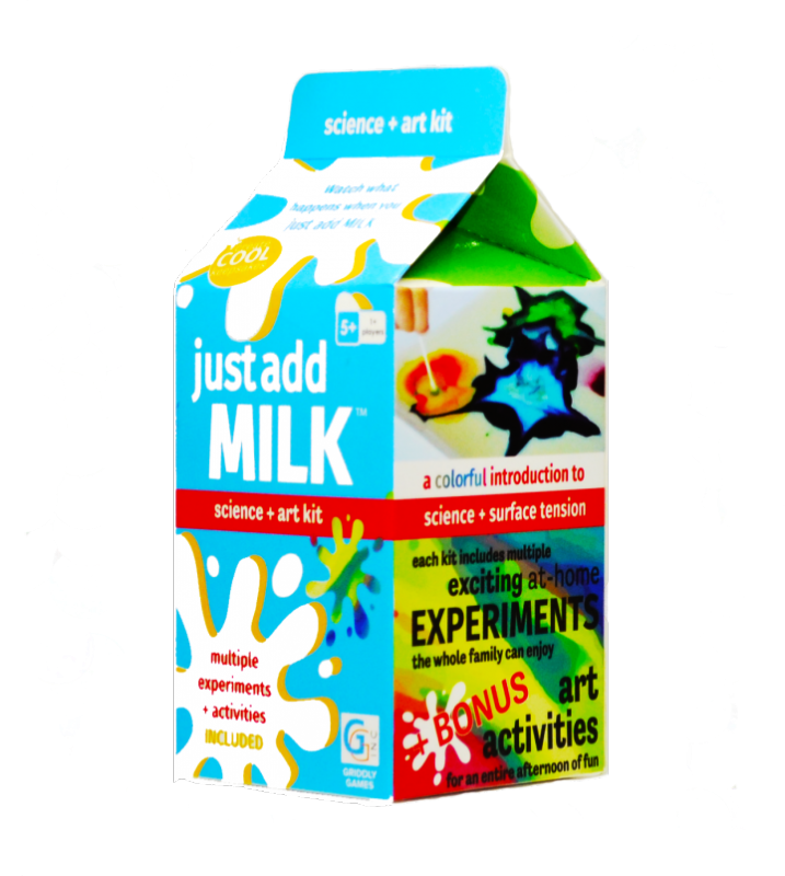 Griddley Games ~ Find out what happens when you JUST ADD MILK! This expedient kit comes with everything you need except the milk!