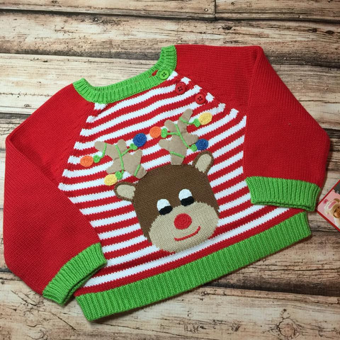 Zubels Christmas Lights Reindeer Sweater For Boys or Girls