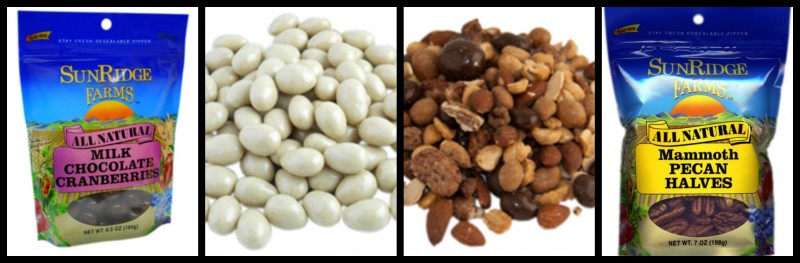 SunRidge Farms Organic & Natural Snack Foods: Milk Chocolate Cranberries, Vanilla Chai Almonds, Pecans, and Caramel Toffee Nut Mix