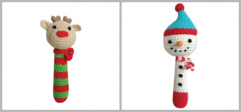 zubels reindeer and snowman rattle sticks