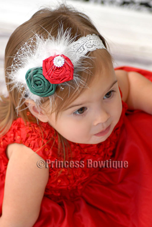 Princess Bowtique Romper Holiday Satin Red and Green Feather Headband Baby Ruffled Romper