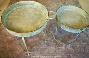 Round Metal Tray Tables Are A Fun Combination Of Shabby Chic And  Industrial. The Tables Are 18u201d Diameter X 20u201d Height And 19.5u201d Diameter X  24u201d Height.