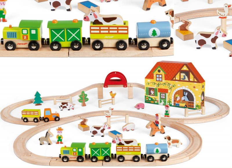 Story Express Farm Wooden Train Set by Janod
