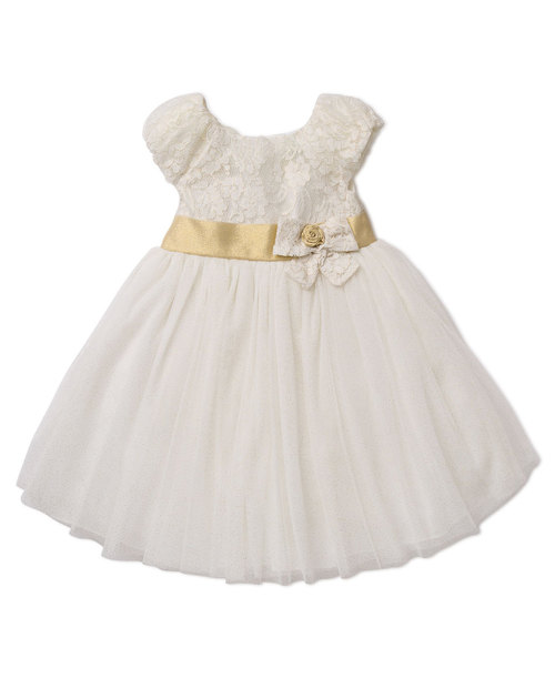 LittleMe Sparkle Gold Dress Holiday Outfit