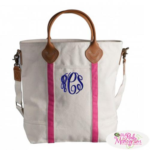 The Pink Monogram Natural+Canvas+Flight+Bag+in+Hot+Pink+or+Navy+Stripe+
