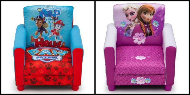 delta children's upholstered Paw Patrol & Frozen chairs