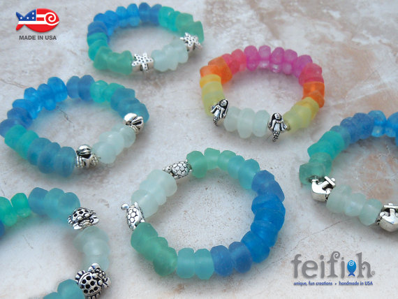 New! Recycled Glass Ombre Sealife Bracelets