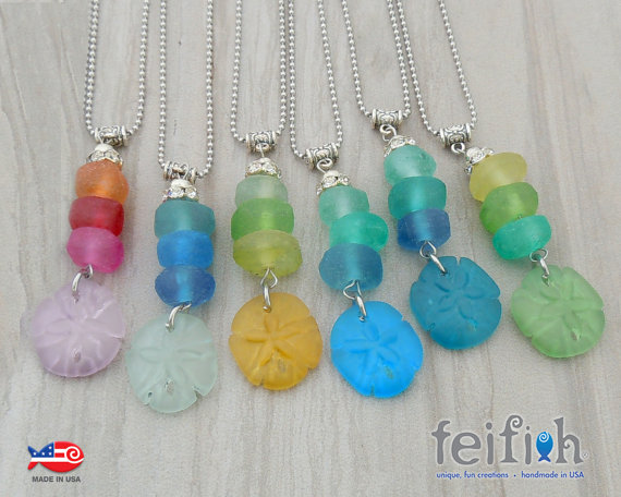 Recycled Glass Sand Dollar Necklaces