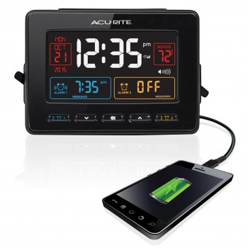 AcuRite Atomic Clock with USB Charger & Dual Alarm