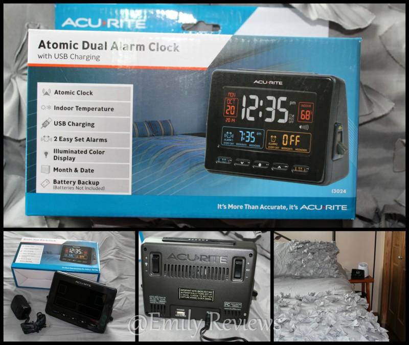 AcuRite Clock ~ AcuRite Atomic Clock with USB Charger & Dual Alarm