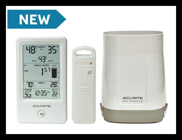 AcuRite Rain Gauge with Indoor/Outdoor Temperature