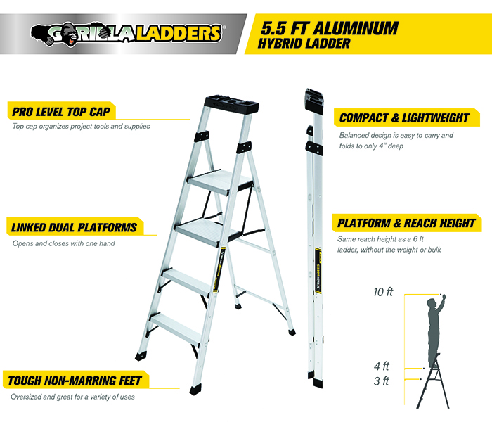 Gorilla Ladders 5 5 Ft Aluminum Hybrid Ladder Review