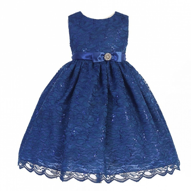 Sophia's Style Christmas Dress in a gorgeous, deep blue. Crayon Kids Little Girls Royal Blue Lace Overlay Brooch Christmas Dress 2T-6