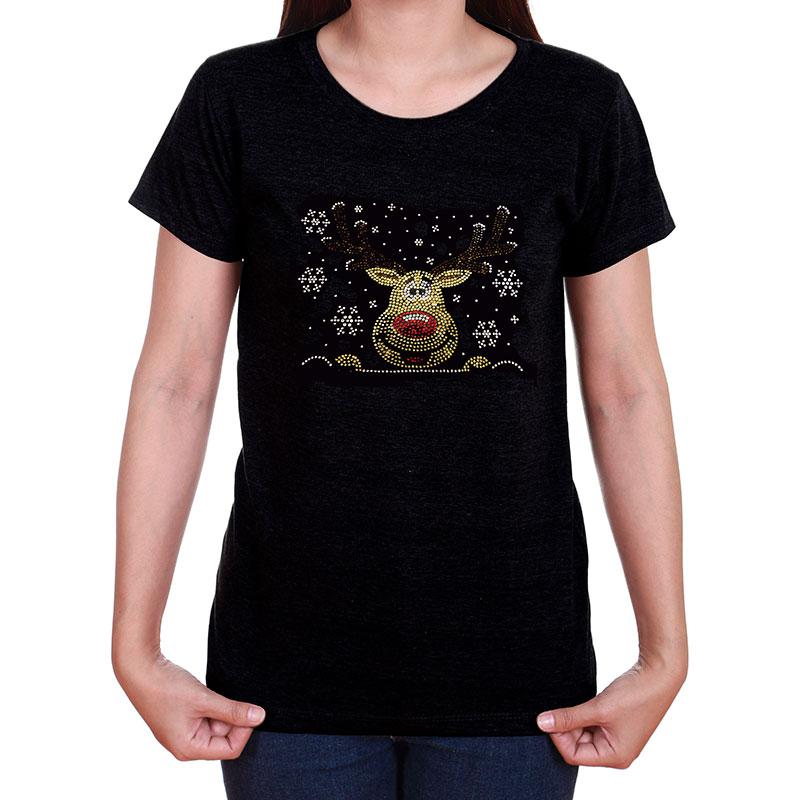 Lyn Dorf Rudolph Reindeer Rhinestone T-Shirt