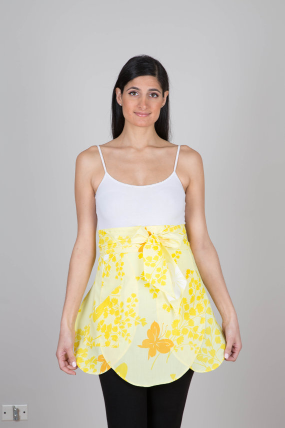 Thimble and Bodkin yellow-tulip-apron