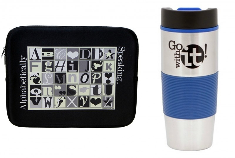 teacher peach laptop alphabet designed protective case and go with it travel mug