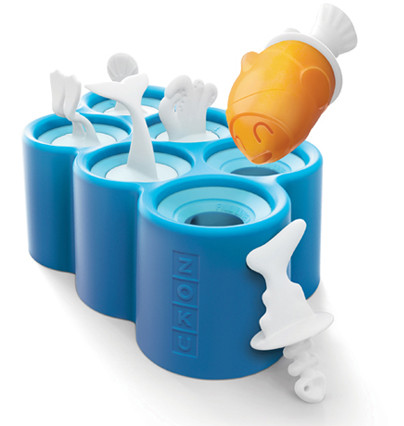 """Zoku Fish Pop Molds ~Dive into the world of Zoku Fish Pop Molds with your favorite under-the-sea creatures including a Shark, Clownfish, Octopus, Whale, Puffer Fish and even a Zoku Scuba Diver. Mix and match the tails for fun and surprising results. The sticks contain drip guards and have amusing """"skeletons"""" that are revealed as the pops are eaten. The pops are easy to remove from the molds by simply pulling on the sticks, no rinsing is required."""
