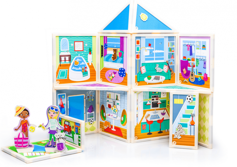 """Build & Imagine ~ Malia's House The magnetic dollhouse you design yourself! Best Seller! Malia's House is an award-winning magnetic dollhouse created by the """"Rising Star Toy Inventor of the Year"""". It's all the fun of a dollhouse with the enrichment of a building set. Easily change things up and create a whole new adventure for endless imaginative play."""