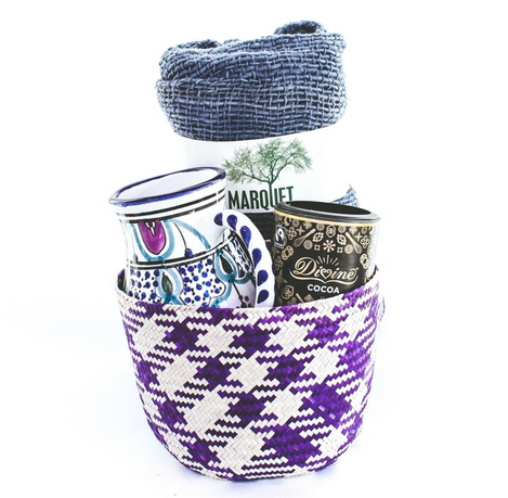 GlboeIn ~ The Cozy Basket Box ~ Greet crisp autumn mornings with a hot drink of choice in your colorful hand-painted mug from Tunisia. Feel snuggled all day long by wrapping up in your 100% cotton scarf from the mountains of Thailand. Sweeten up a chilly afternoon by mixing your Ghanaian cocoa powder with hot water or steamed milk—and a friend!