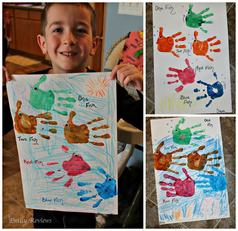 Celebrating Dr. Seuss ~ Fun Facts, Activities, & Crafts {Emily Reviews} - One Fish Two Fish Red Fish Blue Fish Counting Activity, Fish Handprint Craft, Green Eggs & Ham Treat, The Cat In The Hat Fruit Kabobs, and Oobleck Slime!