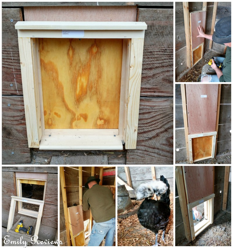 Luckily the opening for our previous chicken coop door was almost exactly the same size that we needed for the Automatic Chicken Coop Door. & Automatic Chicken Coop Door ~ Review | Emily Reviews