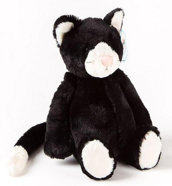 "PAPYRUS 12"" Bashful Black & White Kitten by Jellycat"