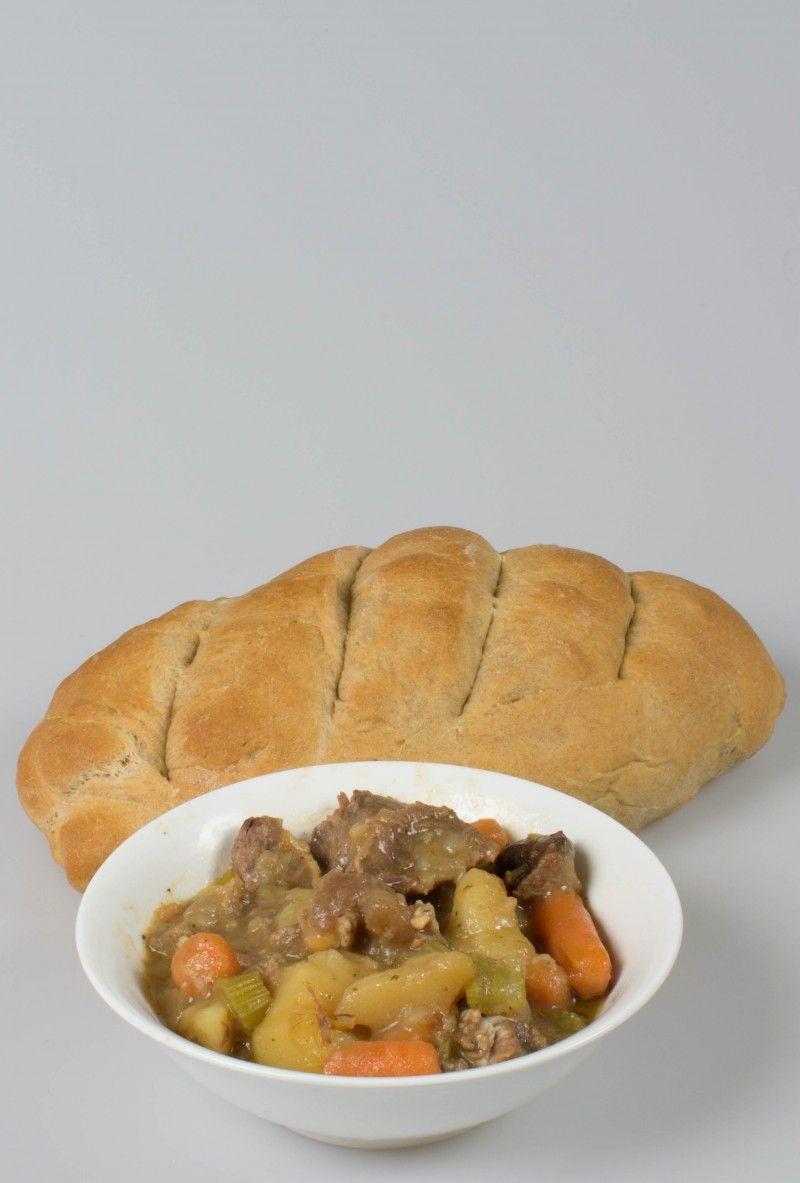 beef stew and homemade bread