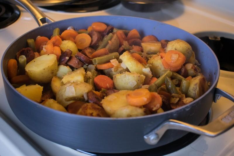 turkey sausage and veggies one pan dinner