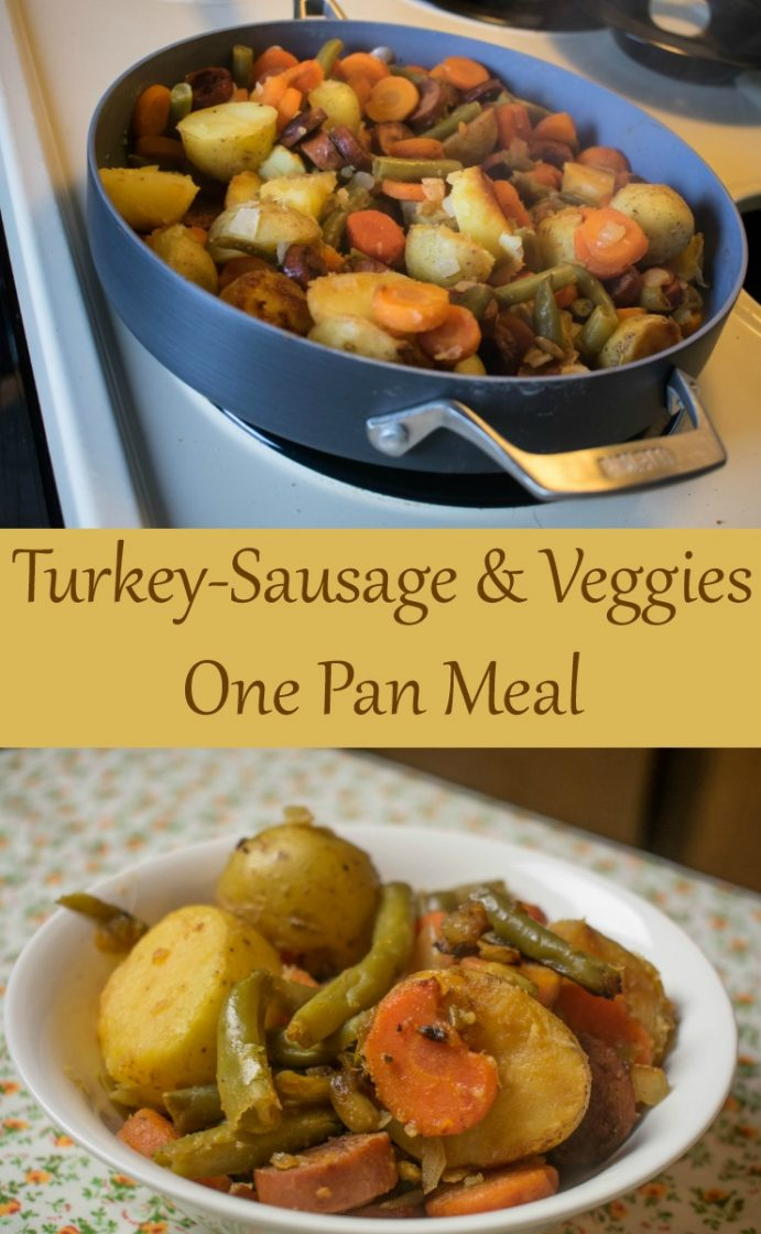 Turkey-sausage and veggies one pan meal for dinner.