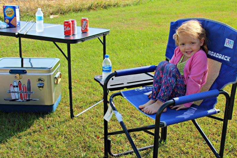 RIO Brands Camping Gear - Centerfold Table, Stainless Steel Cooler, Director's Chair with Side Table, and Sleeping Cot