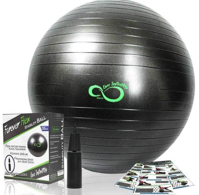 Live Infinitely PROFESSIONAL GRADE ANTI-BURST EXERCISE BALL