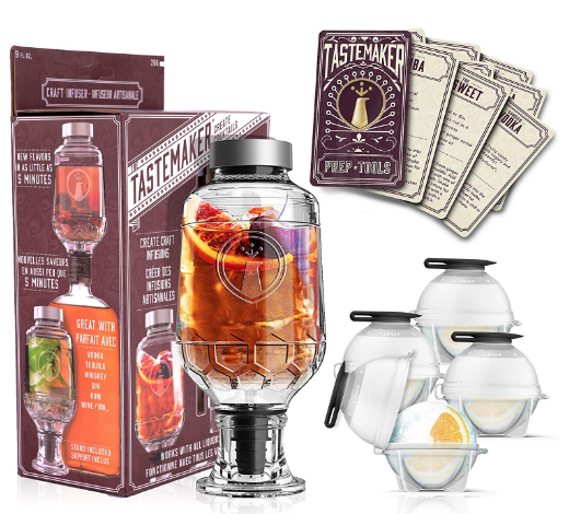 Tastemaker - Complete Cocktail Shaker Infuser Set, Active Infusion, Be an Infused Alcohol Cocktail Mixologist using the 10 Homemade Flavored Recipes + 4 Round Ice Ball Molds, Best Home Bar Kit, a Party Must Have!