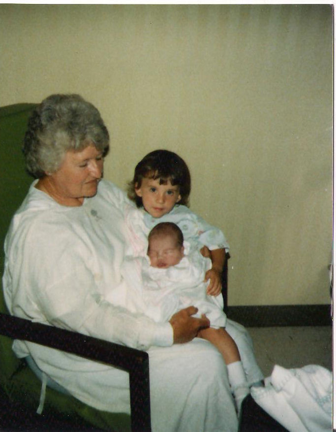 Grandma with newborn me