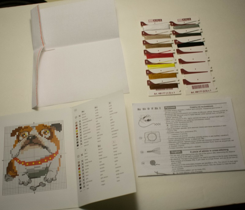 RIOLIS english bulldog cross stitch kit contents