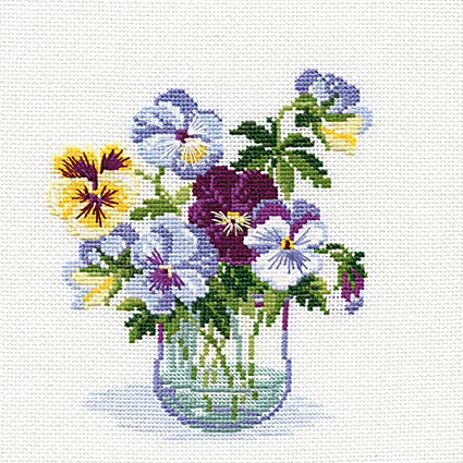RIOLIS pansies small cross stitch kit