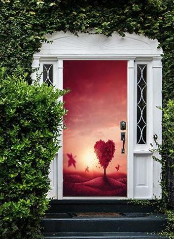DoorFoto Heart Love Tree Door Cover